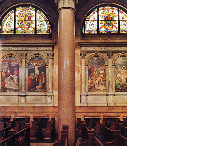 """Stations of the Cross"", glass mosaics before cleaning.<br />Church of Ignatius Loyola, 980 Park Avenue, New York City."
