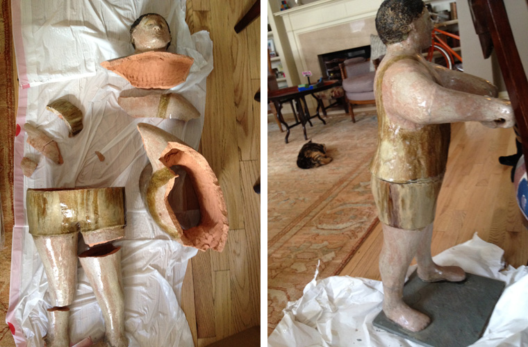 Italian terra-cotta statues (1920's-30's) before and after reconstructions.