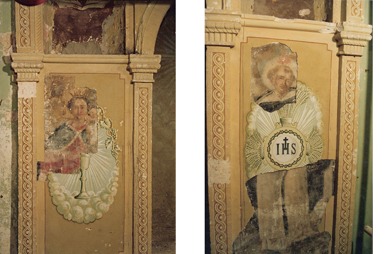 "After manual removal of the amateur ochre colored 1940's frescoed additions, the ""Madonna della Misericordia"" appeared on the left side of the altar and ""Saint Jude"" on the right side (18th century anonymous local artist). See next photo for further discoveries.<br />Church of San Pietro in Caveoso, Matera, Italy."