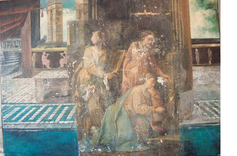 "During the removal of the garish top painting, these three (possible) ""Vestal Virgins"" appeared (circa 1700's). Note that each figure holds a glass/mirror toward the eternal flame. The painting had been completely painted over with a ""bath scene"".<br />Private collection, Rome, Italy."