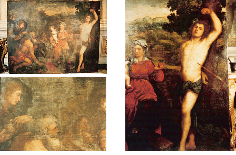 "Left side: condition of Paris Bordone's ""St. Sebastian"" painting before restoration. Below: detail.<br />Right side: after restoration.<br />Galleria Colonna, Rome, Italy."