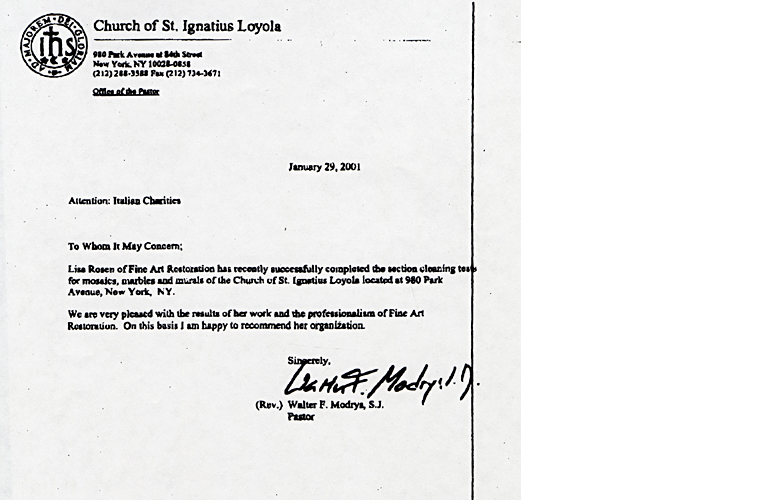 Letters of recommendation received fine art restoration nyc letter of recommendation from church of saint ignatius loyola new york citybr thecheapjerseys Gallery